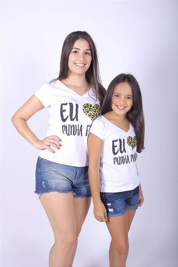 MÃE E FILHA > Kit Camisetas Brancas eu Amo Minha Mãe [Coleção Tal Mãe Tal Filha]