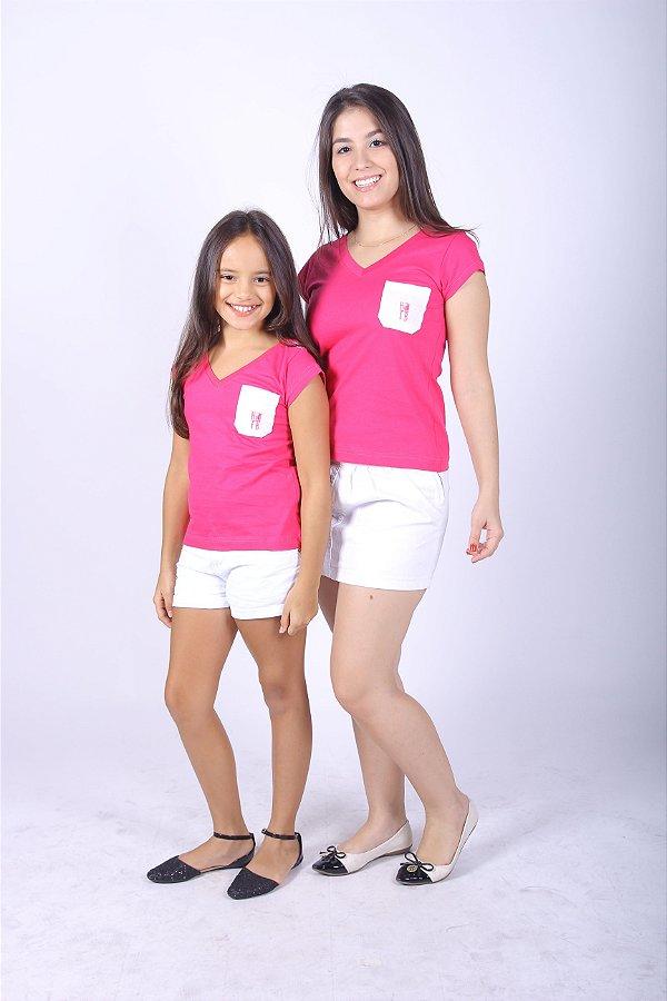 MÃE E FILHA > Kit Camisetas Rosas com Bolso [Coleção Tal Mãe Tal Filha]
