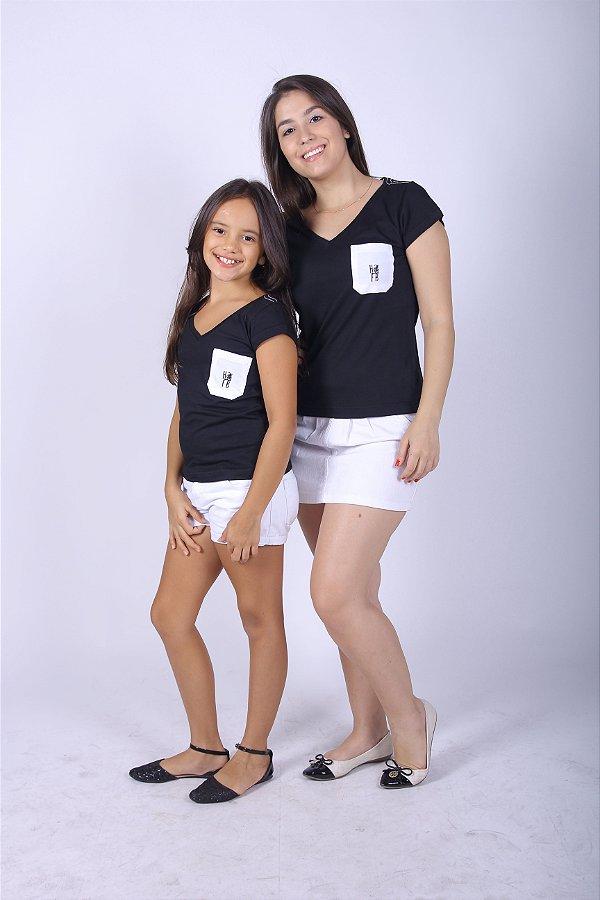 MÃE E FILHA > Kit Camisetas Pretas com Bolso [Coleção Tal Mãe Tal Filha]