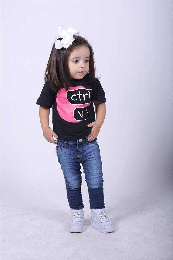 Camiseta Infantil Ctrl-V Rosa