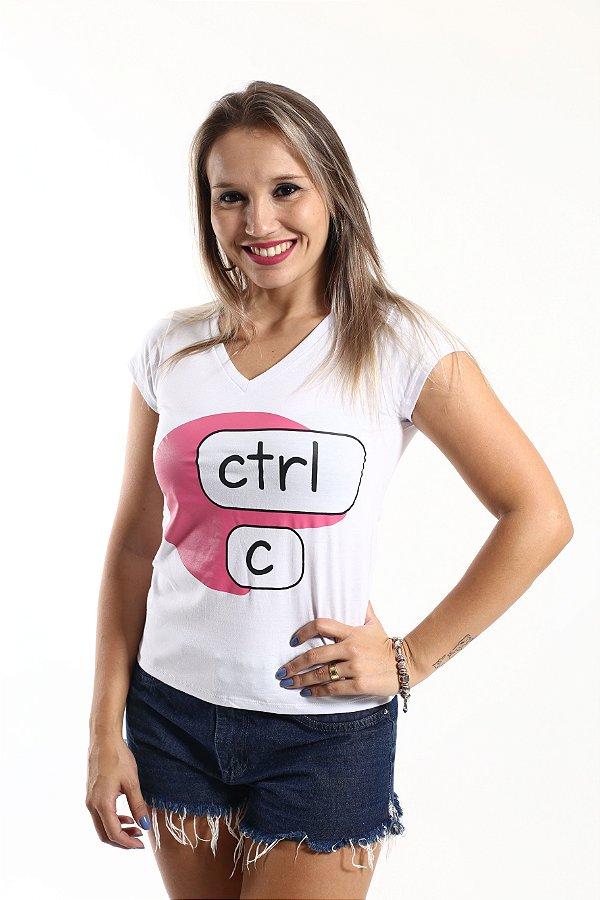 Camiseta Feminina Ctrl-C Rosa