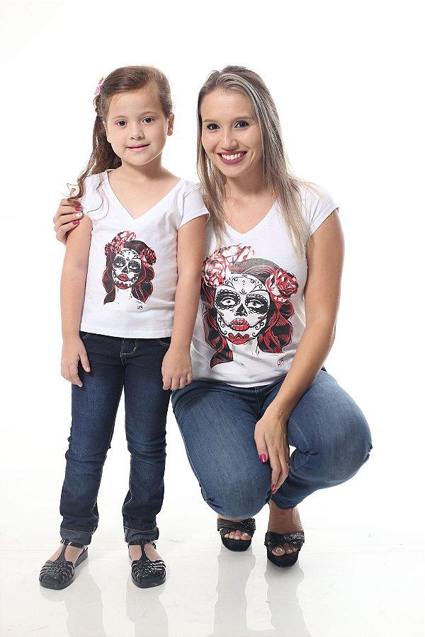 MÃE E FILHA > Kit Camisetas Brancas Caveira Mexicana [Coleção Tal Mãe Tal Filha]