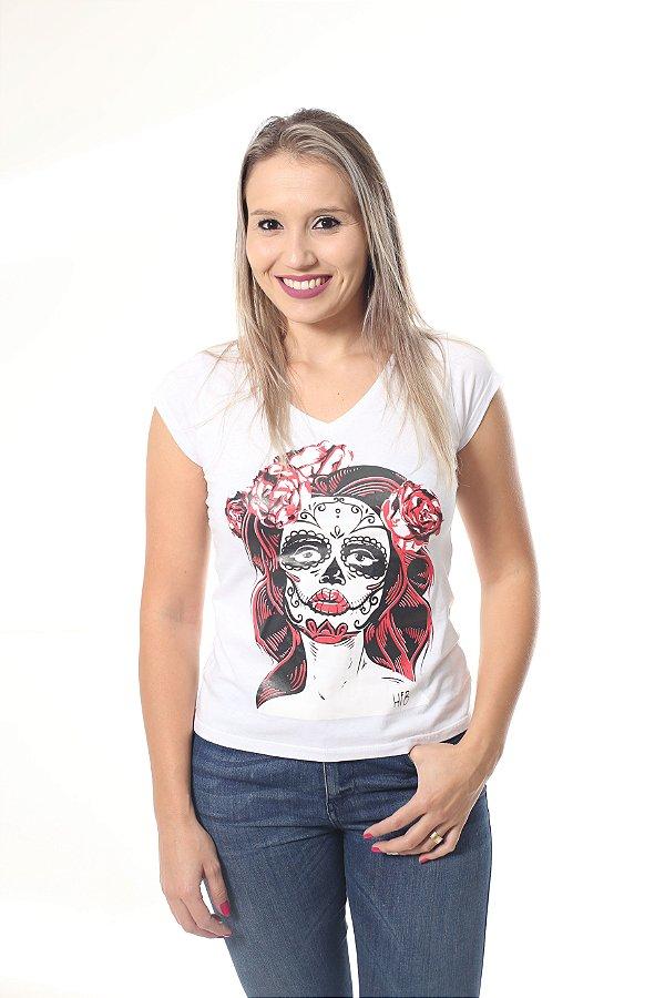 Camiseta Feminina Branca - Caveira Mexicana