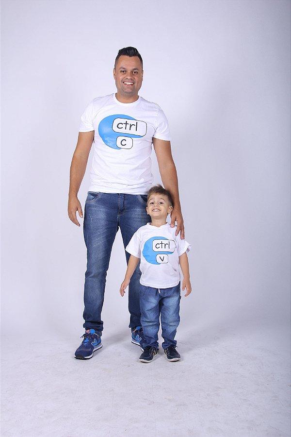 PAI E FILHO > Kit 02 Camisetas Brancas Ctrl-C e Ctrl-V [Coleção Tal Pai Tal Filho]