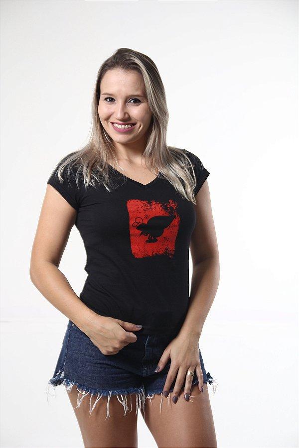 Camiseta Feminina Preta Estampa Emborrachada
