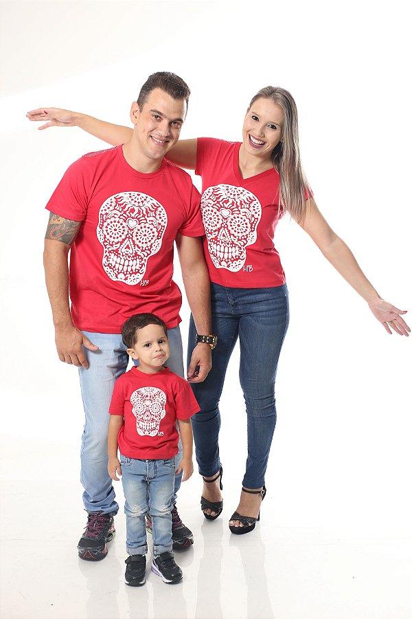 PAIS E FILHOS > Kit 3 peças Camisetas Vermelhas Caveira [Coleção Família]