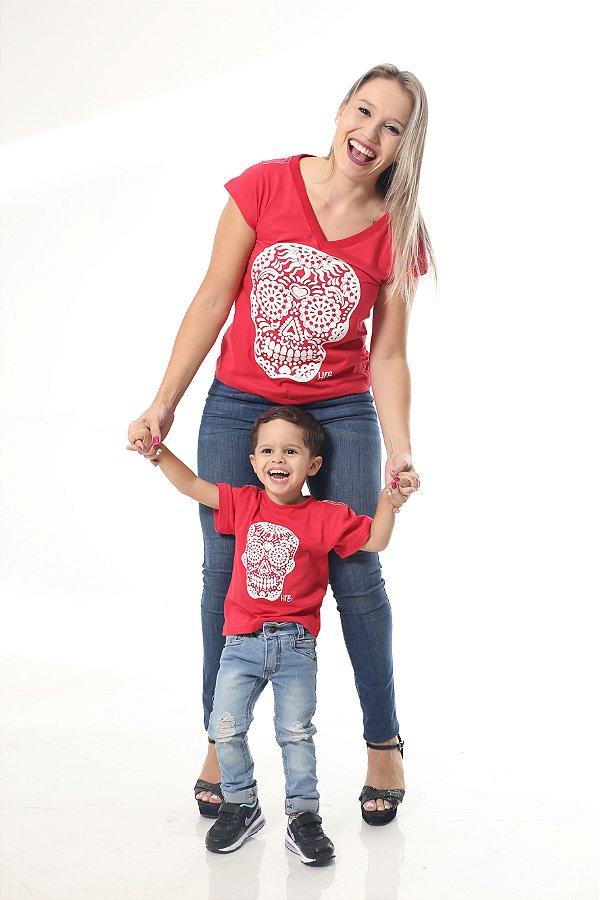 MÃE E FILHO > Kit Camisetas Caveira Vermelhas [Coleção Tal Mãe Tal Filho]