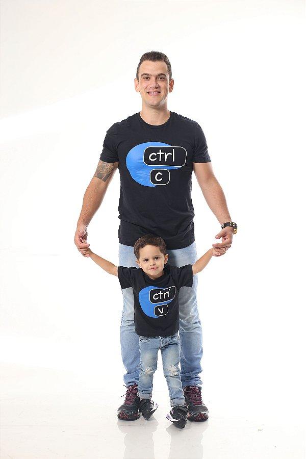 PAI E FILHO > Kit 02 Camisetas Pretas Ctrl+C Ctrl+V [Coleção Tal Pai Tal Filho]