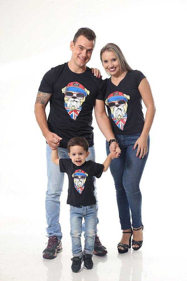 PAIS E FILHOS > Kit 3 Camisetas Pretas Cachorro [Coleção Família]