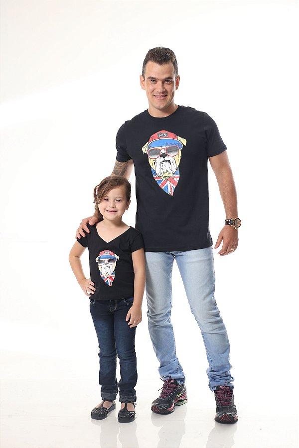 PAI E FILHA > Kit 02 Camisetas Pretas Estampa de Cachorro [Coleção Tal Pai Tal Filho]