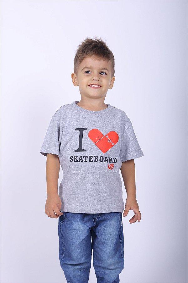 Camiseta Infantil Cinza Skate