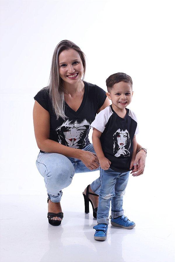 MÃE E FILHO > Kit Camisetas Pretas Silêncio [Coleção Tal Mãe Tal Filho]