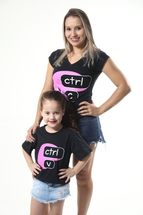MÃE E FILHA > Kit Camisetas Pretas Ctrl+C Ctrl+V [Coleção Tal Mãe Tal Filha]