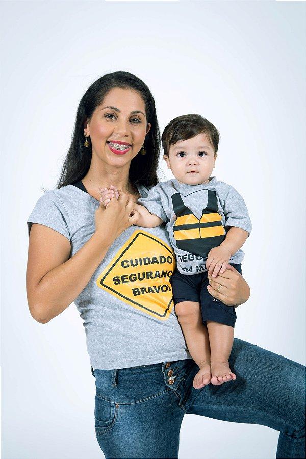 MÃE E FILHO > Kit Camisetas Cinza Segurança [Coleção Tal Mãe Tal Filho]