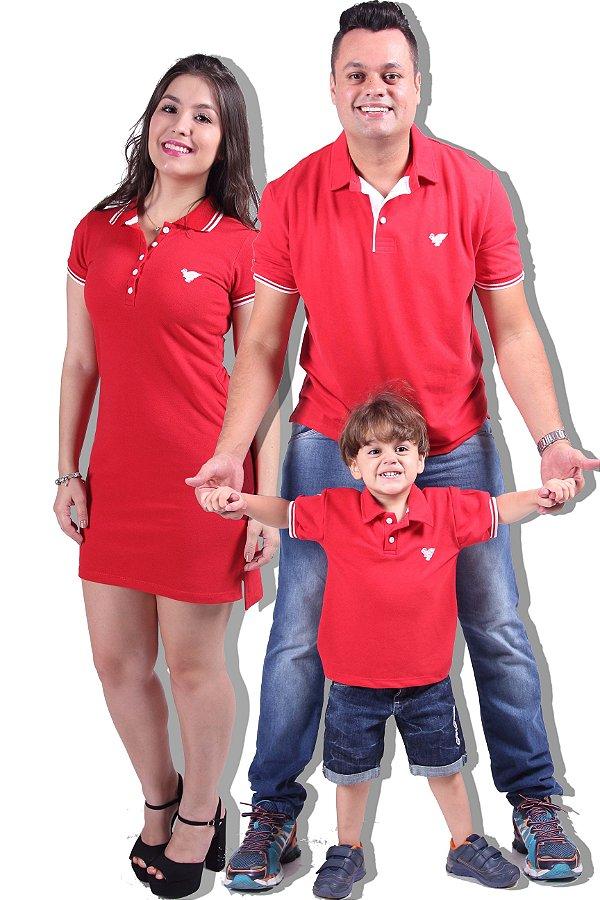 Kit Família Camisas Polos e Vestido Vermelho