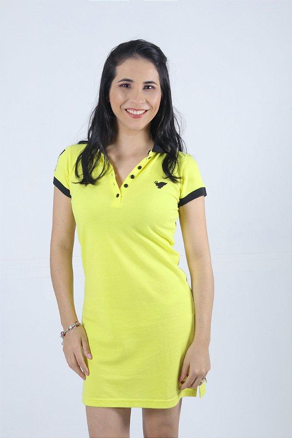 Vestido Manga Curta Amarelo