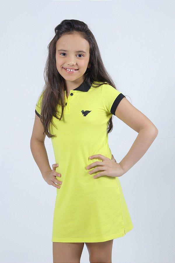 Vestido Infantil Manga Curta Amarelo