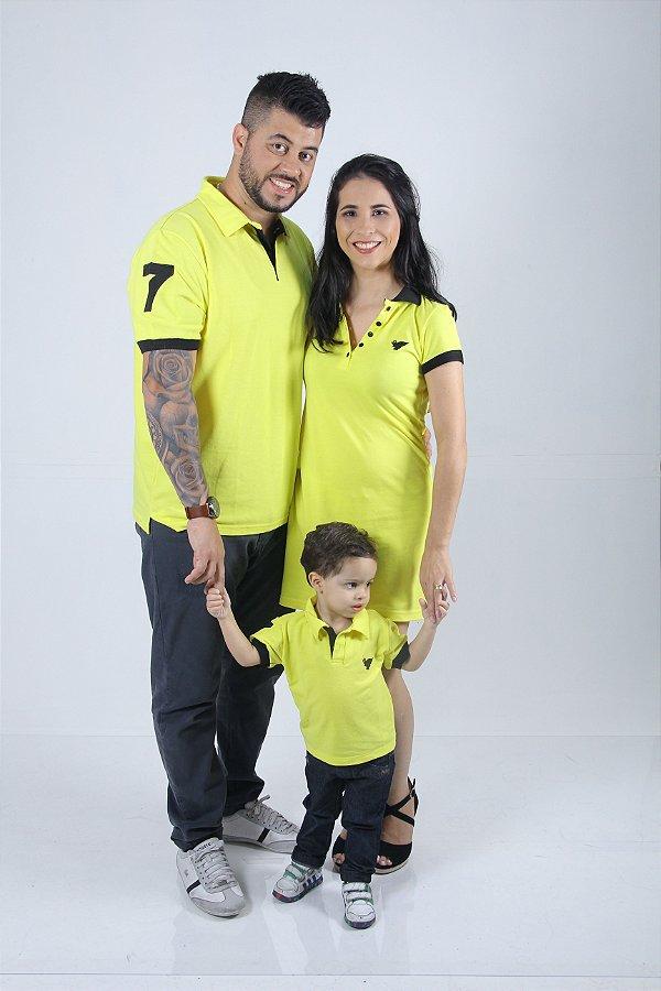 PAIS E FILHOS > Kit 3 peças Camisas e Vestido Polo Amarelo [Coleção Família]