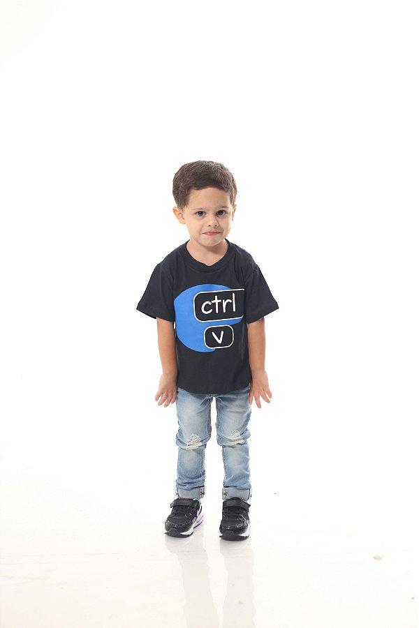Camiseta Infantil Ctrl-C Preta