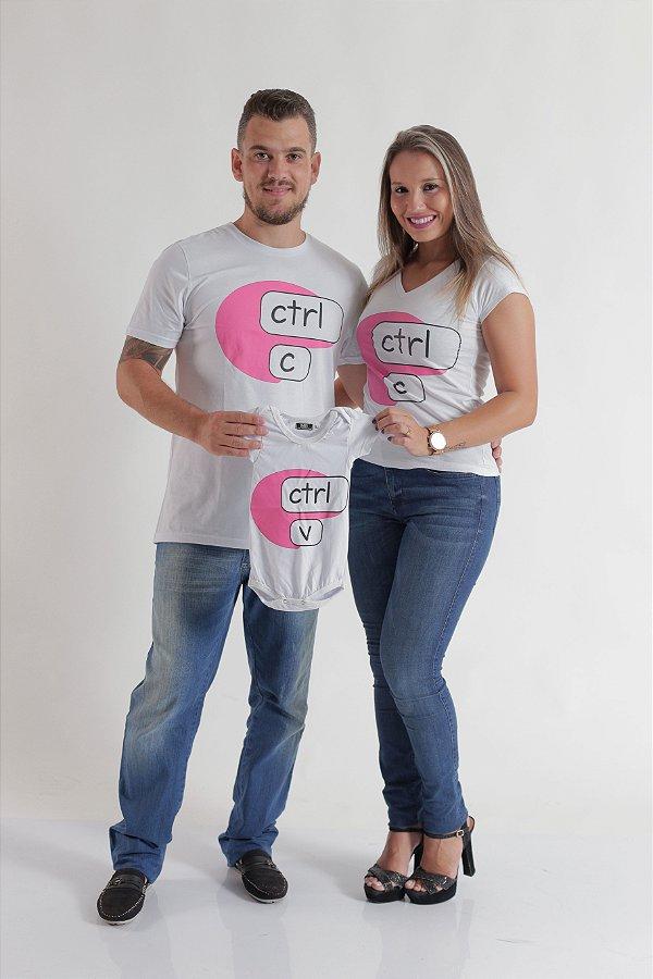 PAIS E FILHOS > Kit 3 peças Camisetas + Body Infantil - Ctrl-C e Ctrl-V Rosa [Coleção Família]