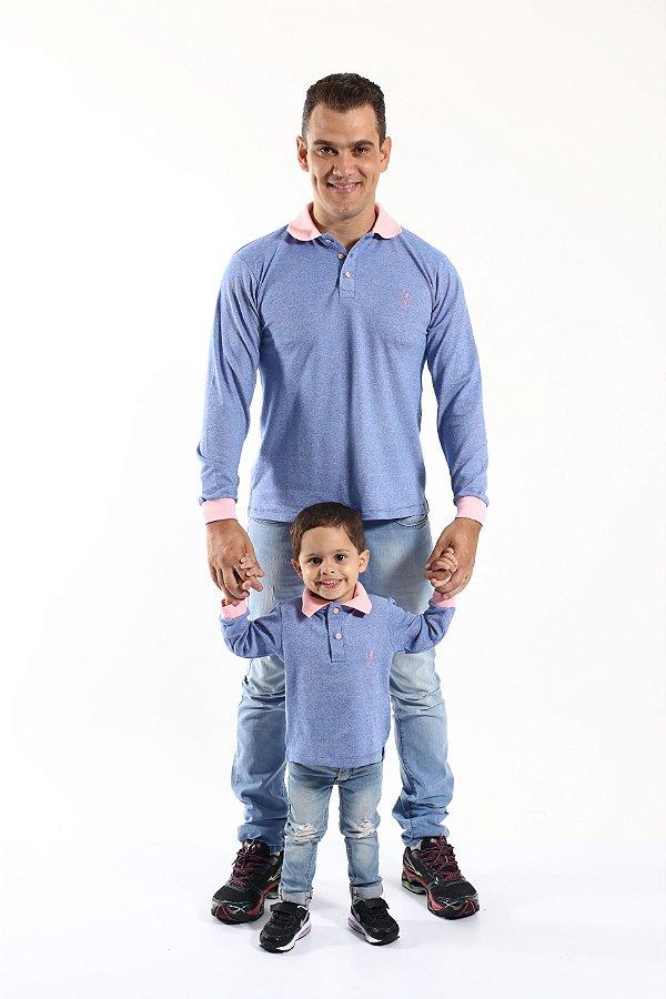 PAI E FILHO > Kit 02 Camisas Polos Azul Manga Longa [Coleção Tal Pai Tal Filho]
