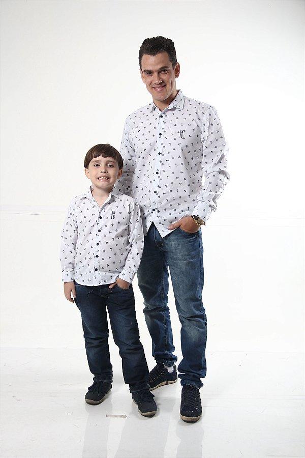 PAI E FILHO > Camisas Social Marinheiro Branca [Coleção Tal Pai Tal Filho]