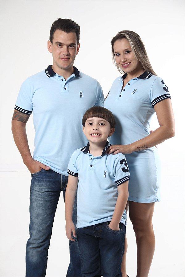 PAIS E FILHOS > Kit 3 peças Camisas Polo e Vestido Azul Nobreza [Coleção Família]