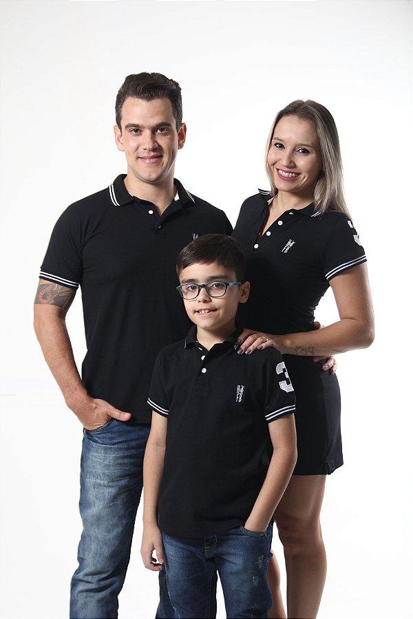PAIS E FILHOS > Kit 3 peças Camisas Polo e Vestido Pretos Elegancia [Coleção Família]