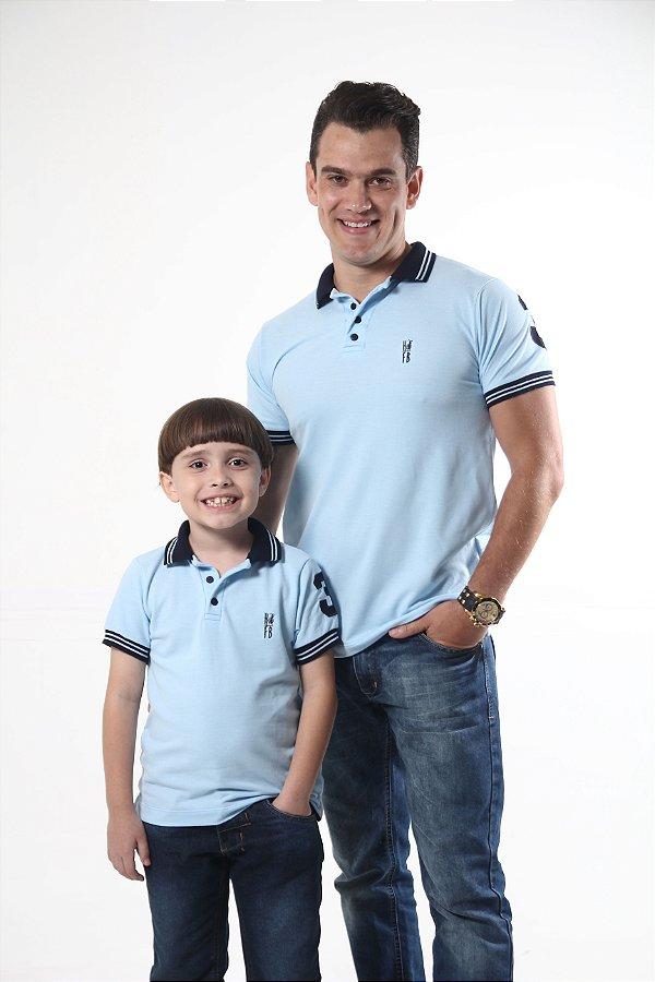 PAI E FILHO > Kit 02 Camisas Polo Azul Nobreza [Coleção Tal Pai Tal Filho]