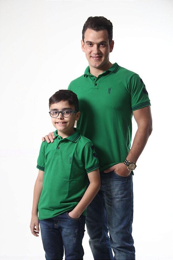 PAI E FILHO > Kit 02 Camisas Polo Verde Esperança [Coleção Tal Pai Tal Filho]