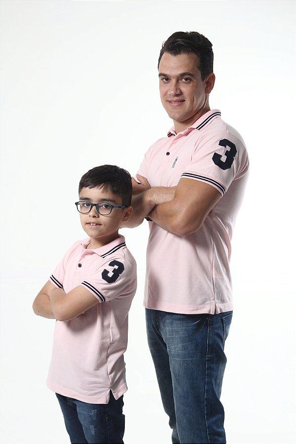 PAI E FILHO > Kit 02 Camisas Polo Rosa Amor  [Coleção Tal Pai Tal Filho]