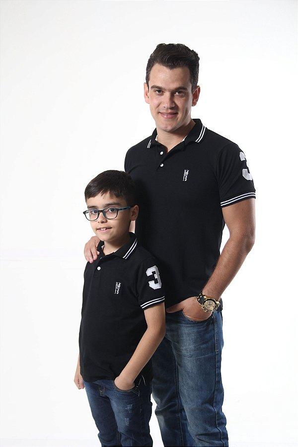 PAI E FILHO > Kit 02 Camisas Polo Pretos Elegância  [Coleção Tal Pai Tal Filho]