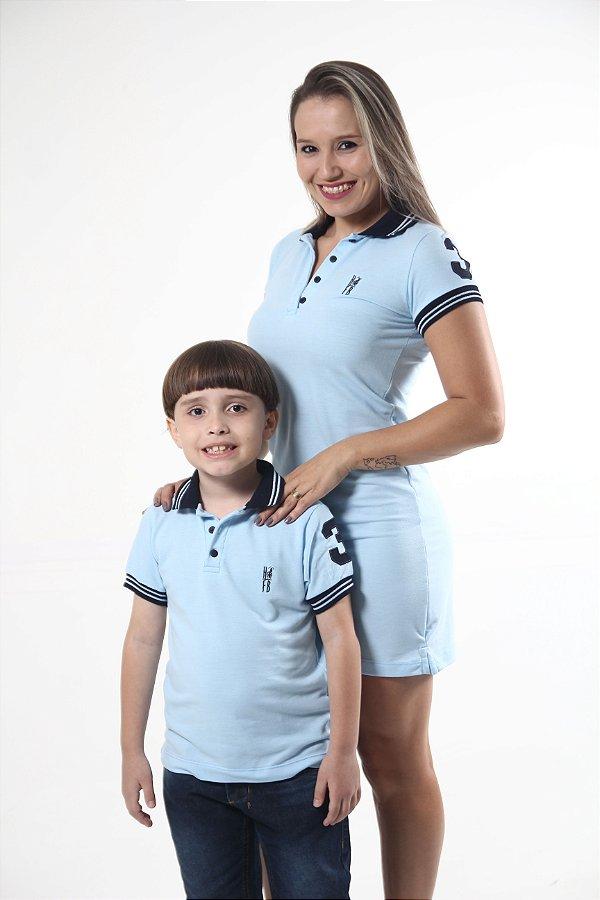 MÃE E FILHO > Kit 02 peças Vestido e Camisa Polo Infantil Azul Nobreza [Coleção Tal Mãe Tal Filho]