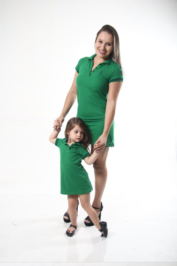 MÃE E FILHA > Kit 02 Vestidos Polo Verde esperança [Coleção Tal Mãe Tal Filha]