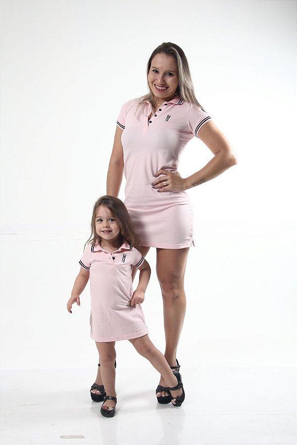 MÃE E FILHA > Kit 02 Vestidos Polo Rosa Amor [Coleção Tal Mãe Tal Filha]
