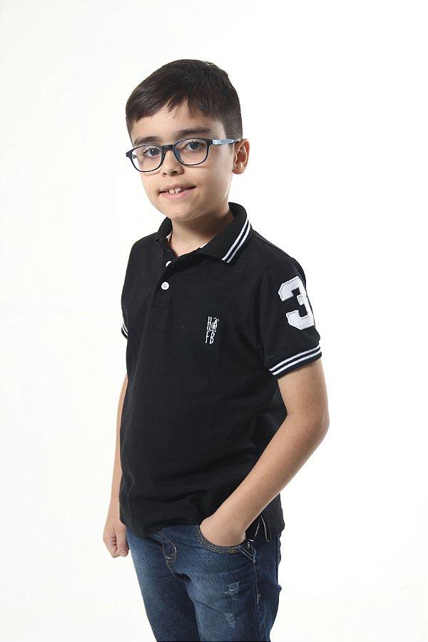 Camisa Polo Infantil Preto Elegância