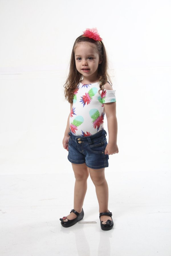 Body Feminino Infantil Ombro Vazado Abacaxi
