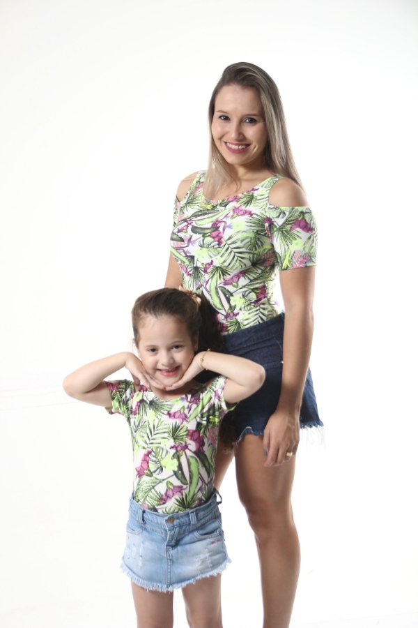 Mãe e Filha > Kit 02 Bodys Femininos Ombro Vazado Liberdade [Coleção Tal Mãe Tal Filha]
