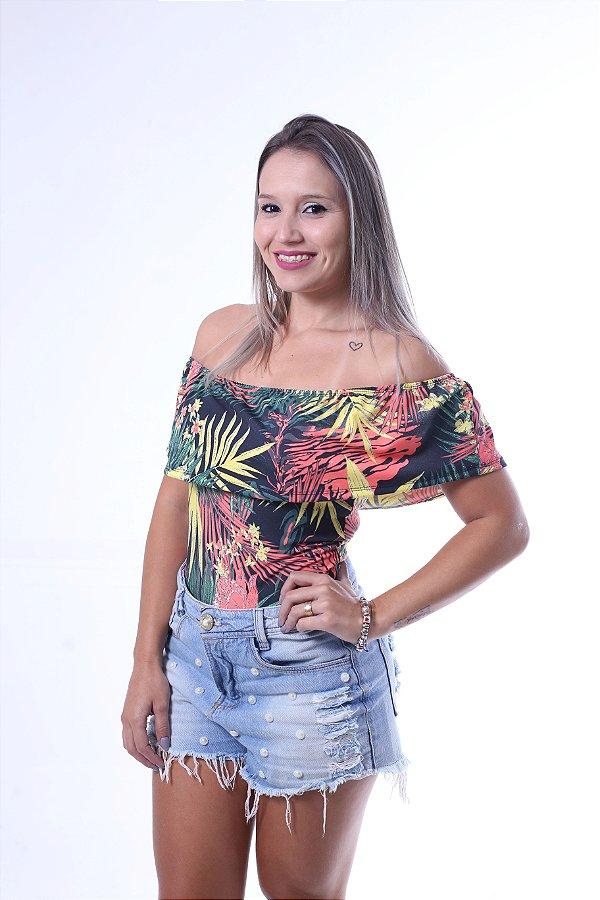 Body Feminino Adulto Ciganinha Folhagem Brasil