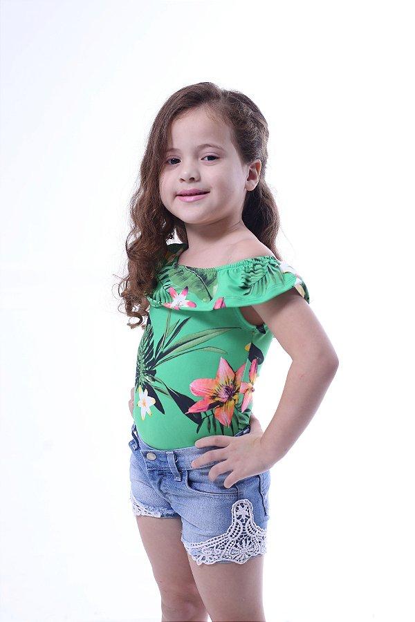 Body Feminino Infantil Ciganinha Flores