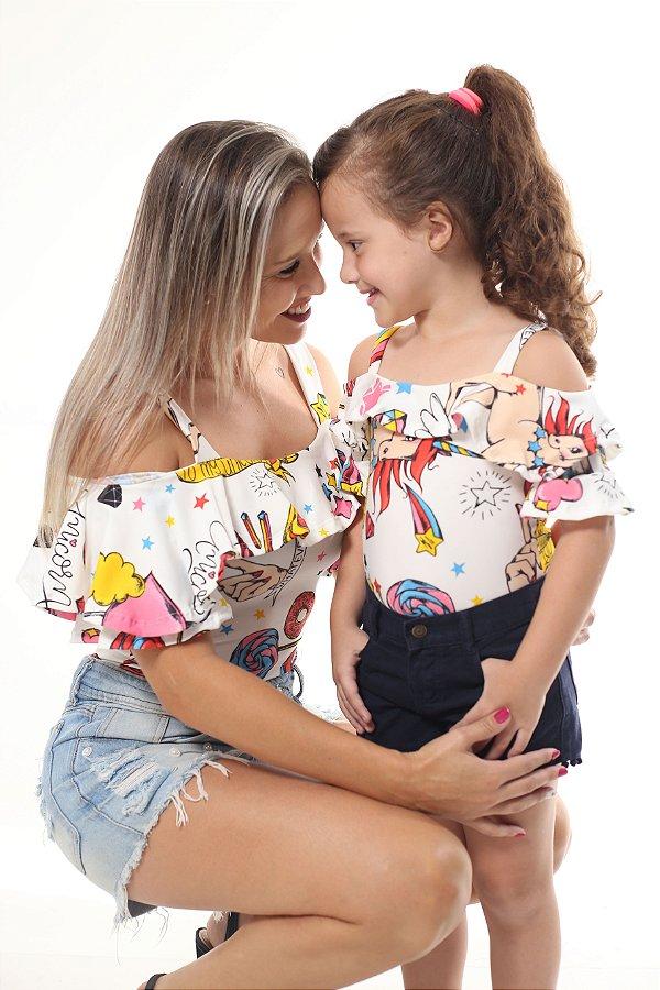 Mãe e Filha > Kit 02 Bodys Femininos Unicórnio Branco [Coleção Tal Mãe Tal Filha]