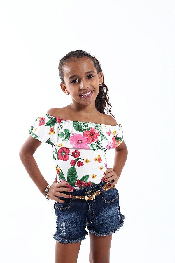 Body Feminino Infantil Ciganinha Rosas