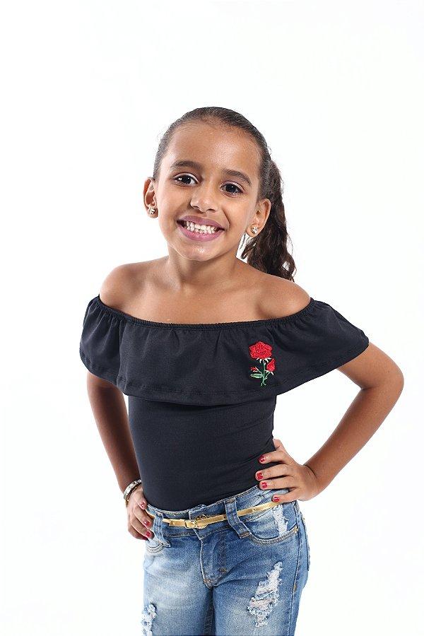 Body Feminino Infantil Preto Ciganinha Rosas
