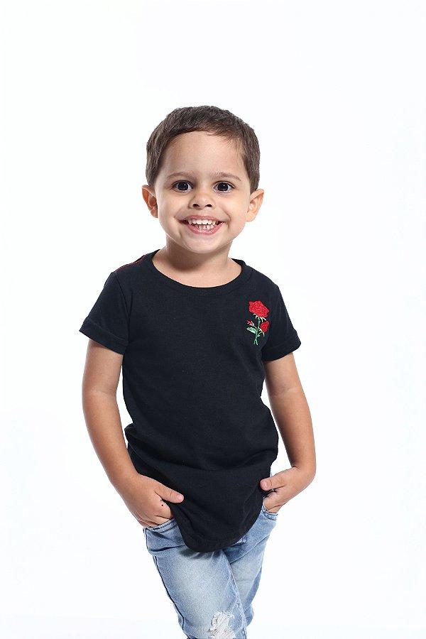 Camiseta Long Preta Infantil Rosa Bordada