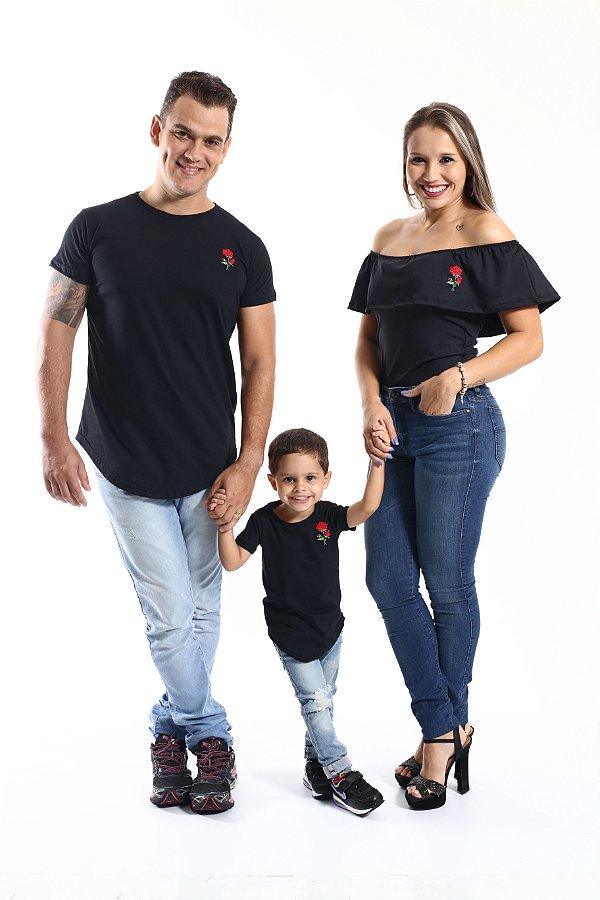 PAIS E FILHOS > Kit Camisetas Long + Body Pretos com Rosa Bordada [Coleção Família]