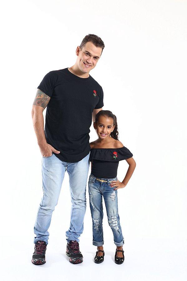 PAI E FILHa > Kit 02 Peças Camiseta Long + Body Infantil Pretos [Coleção Tal Pai Tal Filha]