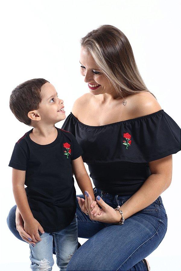 MÃE E FILHO > Kit 02 Peças Body + Camiseta Long Pretas [Coleção Tal MÃE Tal Filho]