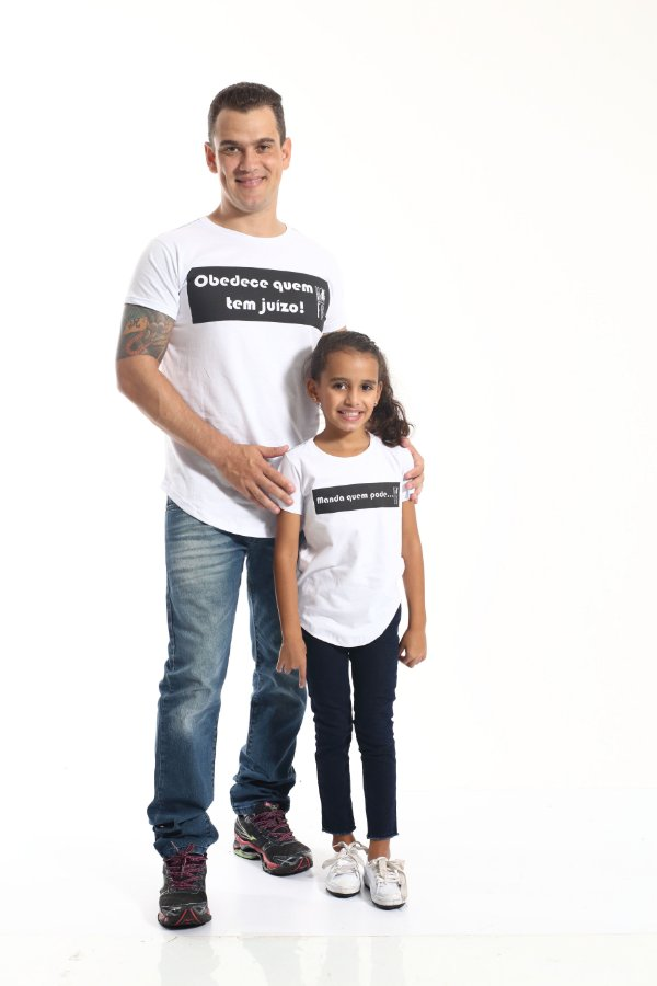 PAI E FILHA > Kit 02 Camisetas Long Manda Quem Pode [Coleção Tal Pai Tal Filha]