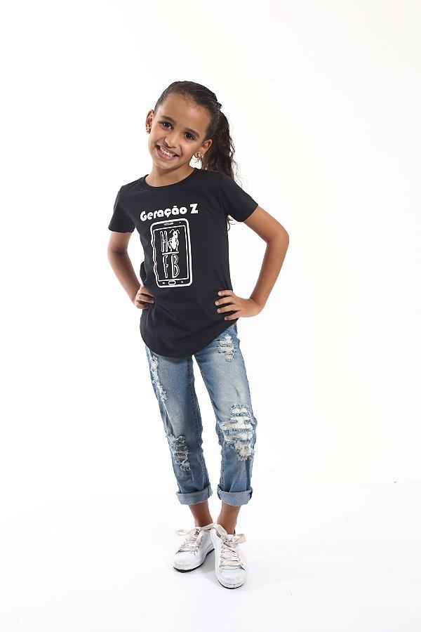 Camiseta Long Preta Infantil Geração Z