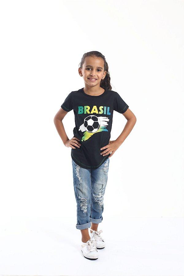 Camiseta Long Preta Infantil Copa do Mundo